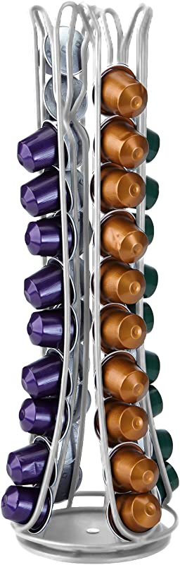 Mind Reader Coffee Pod Strorage For Nespresso Capsules Carousel Holds 44 Capsules Silver