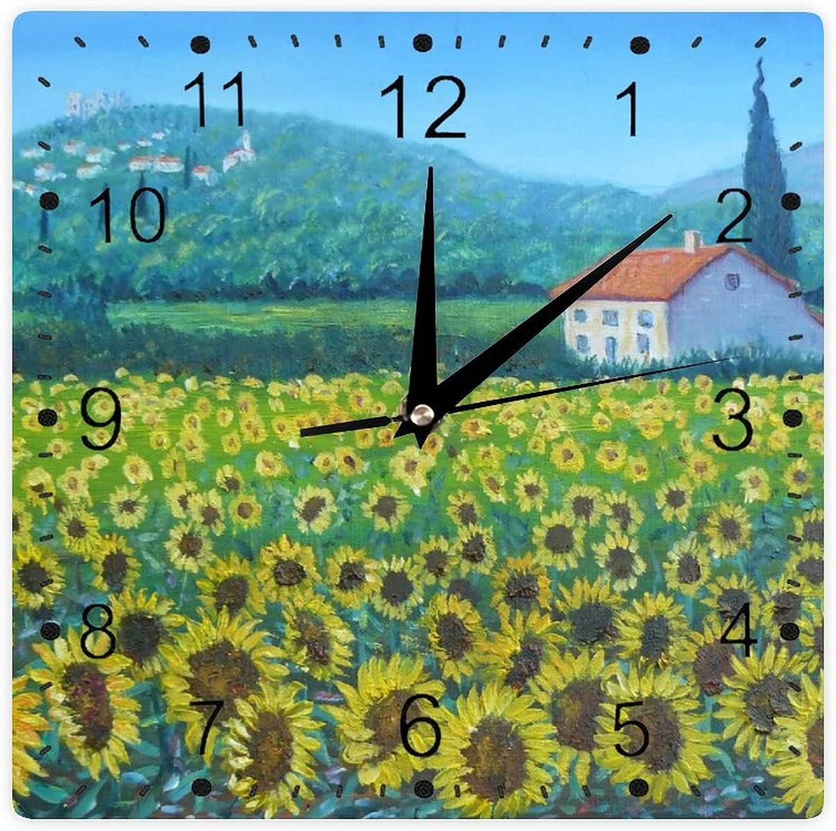 Square Wall Clock Beautiful Online Regular discount limited product Silent Non Operated Ticking Battery