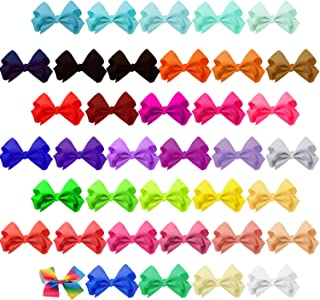 SUBANG 38 Pieces Hair Clips Hair Bows Barrettes Hair Accessories Set the Good Gift for Girl Kids Babies Toddlers (4.5 Inch 38 Colors)