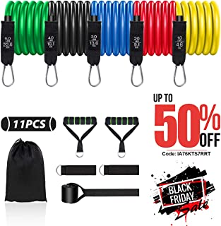 N-A Resistance Bands Set for Man Fitness Bands Resistance Tube Men 11PCS Exercise Bands with Handles Ankle Straps Door Anc...