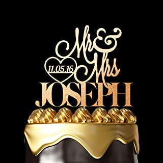 Personalized Cake Toppers for Wedding - Customize Your Own Wedding Cake Topper By Choosing Design, Color, Text and Size – Made in USA. (Metallic Gold, 6 Inch)