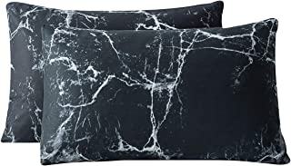 SUSYBAO Pillowcases Queen Size Set of 2 Black Marble Pattern 100% Cotton Bed Pillow Covers Envelope Closure End Pillow Protectors Home Decorative Soft Durable Comfortable (2 Pack, 20 x 26 inch)