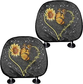 Capa para encosto de cabeça de animal colorido para automóvel, linda borboleta e estampa floral amarela decoração de inter...