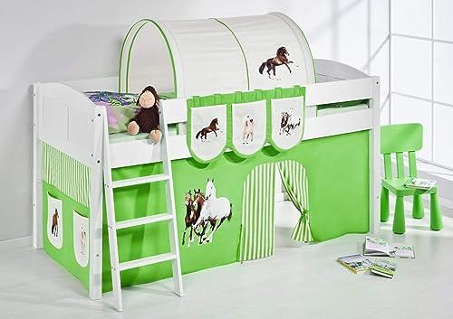 LiloEnfants Lit mezzanine IDA 4106 Cheveaux-Vert - Système de lit évolutif convertible blanc - avec rideau