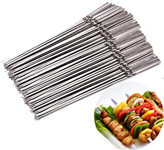 FSYEEL 20 Pieces Flat Stainless Steel Barbecue Skewers BBQ Needle Reusable Grill Sticks with Insulated Spiral Folding for ...
