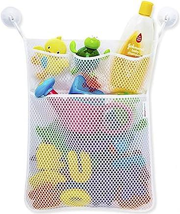 Red de malla, bolsa de almacenamiento, organizador de juguetes, para cuarto de baño y bañera, soporte con ventosa (45*52cm, Blanco)