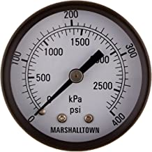 2 0-400 PSI 2 1//4 NPT 1//4 NPT U-Clamp Mount Marsh Bellofram GG20400U4 Marshalltown Value Series Gauge