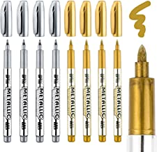 Whaline Metallic Marker Pens, 8 Pcs Permanent Markers Pen for Back to School, Card Making, Scrapbooking Crafts, Wedding Guest Book(Gold and Silver)