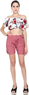 TNQ Women's Cotton Striped Shorts with Elastic Waistband Free Size