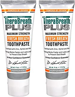 TheraBreath Plus Maximum-Strength Toothpaste, 4 Ounce Tube (Pack of 2)
