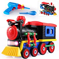 TEMI Take Apart Toys Train Set w/Sounds & Lights and Drill