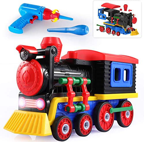 discount TEMI Take Apart Toys Train Set - STEM Construction Toys Kit w/ Sounds & Lights, Educational Playset high quality w/ Battery Powered Drill & outlet online sale Tools for Kids, Boys & Girls outlet online sale