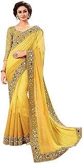 CRAFTSTRIBE Banglori Art Silk Mirror Work Blue Party Wear Pakistani Designer Saree for Women