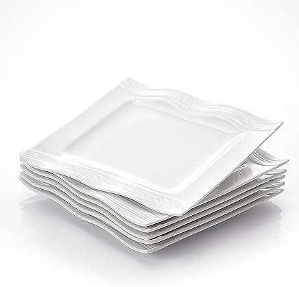 Preisvergleich für MALACASA, Serie Mario, Cremeweiß Porzellan 6 teilig Flachteller Essteller 26 x 26 x 2,5 cm