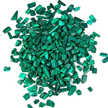 Arswin Malachite Natural Crushed Stone Bulk Small Tumbled Chips Crystal Healing Reiki for Outdoor Indoor Home Making Decorati