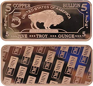 5 oz Five Troy Ounce USA American Buffalo .999 Pure Copper Bullion Bar Cu Element CMC