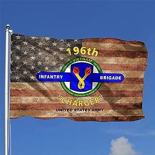 HUXIUjiaqi 196 Infantry Brigade Vietnam Flag 4' X 6' Ft Outdoor Flags Banner Breeze Flag