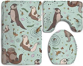 NEW MOMO 3 Piece Bathroom Rug Set Bath Rug Carpet Bathroom Rug Set Toilet Seat Cover Combo Sea Otters