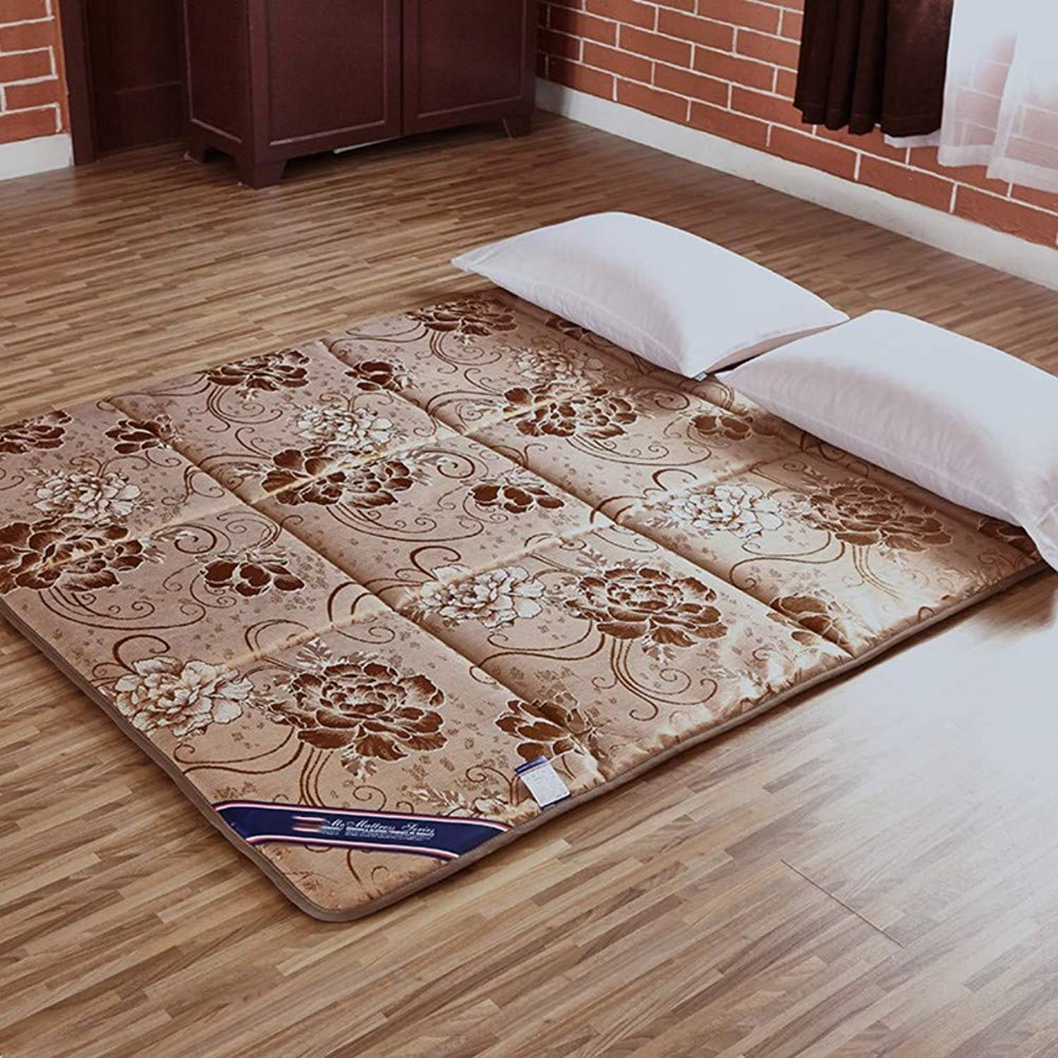 Cool Breathable Mattress, Double Sided Tatami Floor mat, Antibacterial Anti-mite Sleeping pad Washable Foldable Mattress Predector-Light tan 150x220cm(59x87inch)