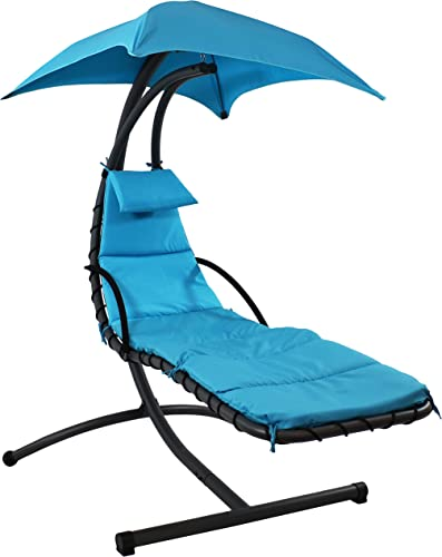 lowest Sunnydaze Floating popular Chaise Lounger, online Outdoor Hanging Hammock Patio Swing Chair with Canopy and Arc Stand, Teal sale