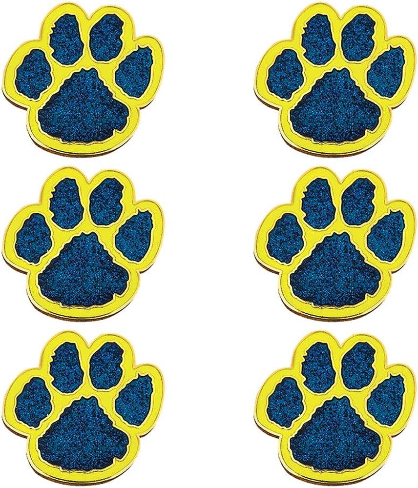 Glitter Paw Mascot Award Pins, 6 Count