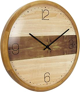 AROMUSTIME 13 Inches Round Wooden Wall Clock with Arabic Numerals Whisper Quiet Convex Glass Lens, for Office Patio Bedroom Kitchen Bathroom&Living Room, Two-Tone