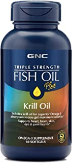 GNC Triple Strength Fish Oil Plus Krill Oil, 60 Softgels, for Join, Skin, Eye, and Heart Health