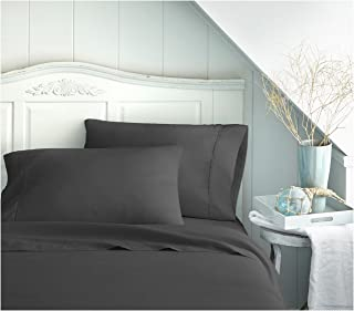 Becky Cameron ienjoy Home 3 Piece Double Brushed Microfiber Bed Sheet Set, Twin XL, Black, TWINXL