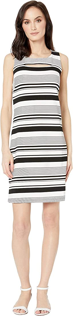 Knit Stripe Peekaboo A-Line Dress