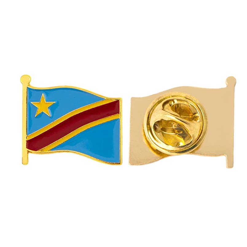 Congo Country Flag Lapel Pin Enamel Made of Metal Souvenir Hat Men Women Patriotic (Waving Flag Lapel Pin) vg051726076
