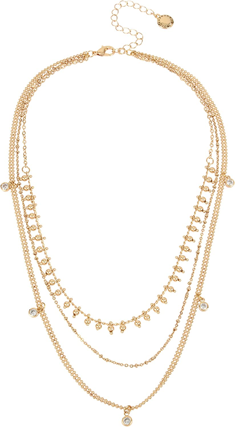 BCBGeneration Mixed Chain Stone Layered Necklace, Crystal