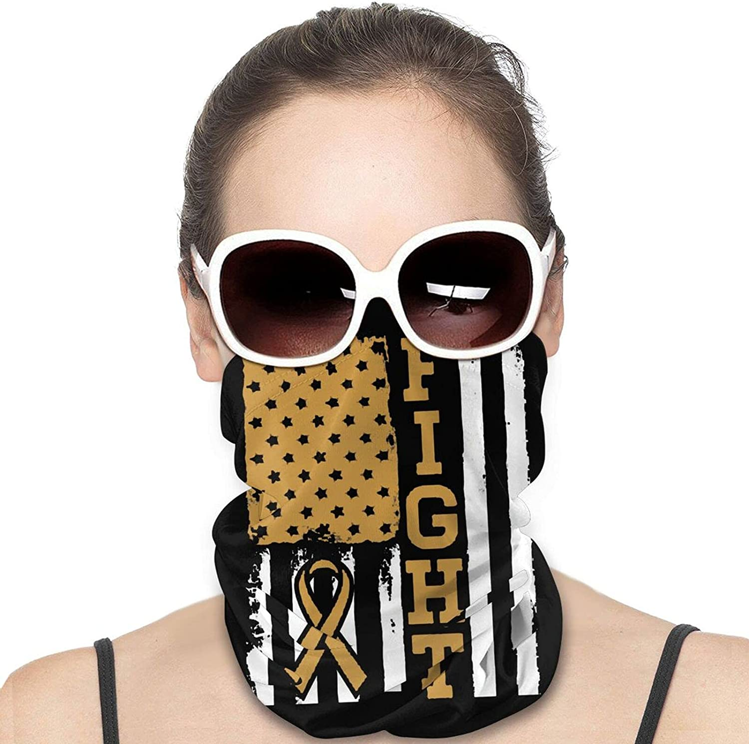 Appendix Cancer Fight Flag Round Neck Gaiter Bandnas Face Cover Uv Protection Prevent bask in Ice Scarf Headbands Perfect for Motorcycle Cycling Running Festival Raves Outdoors