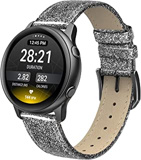 SWEES Leather Band Compatible Samsung Galaxy Watch Active 40mm Band, 20mm Genuine Leather Replacement Bands with Quick Release Pins for Galaxy Watch Active 2 Smart Watch 2019 Women Men, Glitter Black