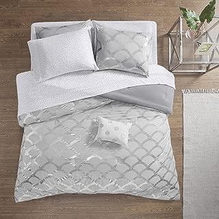 Intelligent Design Lorna Metallic Print Mermid Scale Scallop Polka Dots Ultrasoft Microfiber Comforter and Sheet Set Bag Bedding, Full Size, Gray 8 Piece