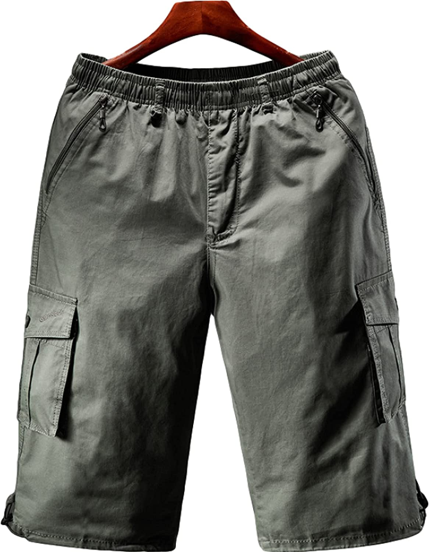 Segindy Men's Loose Large Size Shorts Summer Fashion Comfortable Elasticated Waist