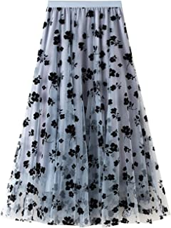 Women's Night Out Skirts Long Tulle Skirt Flower Embroidery Solid Color Midi Swing Skirt