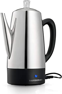 Gastrorag Electric Coffee Percolator – 12-Cup, Stainless Steel, Quick Brew & Keep Warm Function, Cool Handle & Easy-Store Detachable Cord, DK12B