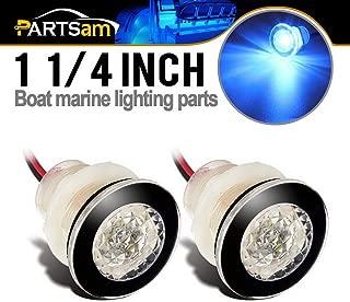 Partsam 2X Round Blue Led Livewell Courtesy Lights Marine Boat RV 12V DC Clear Lens, 1-1/4