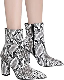 Hot Sale Shoes ! Pocciol Women Buckle Shoes Boots Snakeskin Pattern Thick Pointed Toe Zip Belt Booties