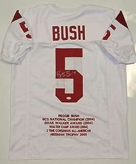 Reggie Bush Autographed White Stat Jersey- JSA W Authenticated