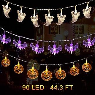 Set of 3 Halloween Decoration Lights, 90 LED 44.3 FT Halloween String Lights, Battery Operated Fairy Lights Pumpkin Bat Ghost Lights for Indoor Outdoor Halloween Party