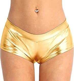 TiaoBug Women Shiny Metallic Faux Leather Booty Shorts Hot Pants Bottoms for Dancing Raves Festivals Costumes