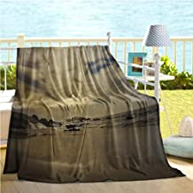 Mademai Nature Decor Throw Blanket for Couch,Long Exposure Beach Ocean Sunset Rocky Coast with Waves Cloudy Sky Autumn View,Small Blanket Sepia 50