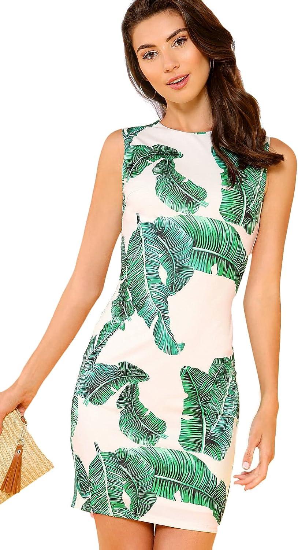 Floerns Women's Palm Leaf Print Sleeveless Round Neck Work Bodycon Dress