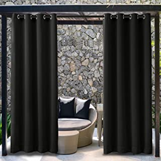 TWOPAGES Outdoor Pergola Curtain Rustproof Grommet Black Curtain for Porch, Blackout Privacy Waterproof Curtain (1 Panel, W52 x L96 Inches)