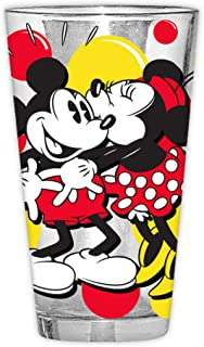 Disney Classic Mickey and Minnie Kiss Dots Pint Glass with Gift Box, 16-Ounces, Red and Black