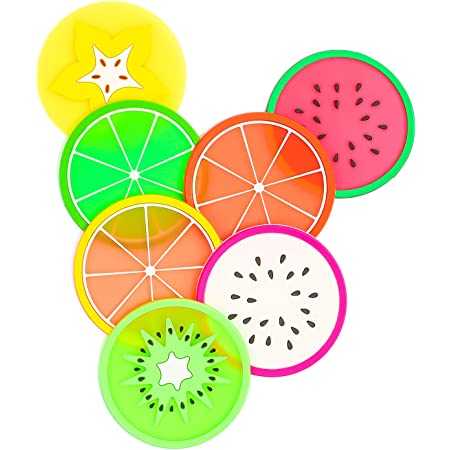"""DomeStar Fruit Coaster, 7PCS 3.5"""" Non Slip Coasters Heat Insulation Colorful Unique Slice Silicone Drink Cup Mat for Drinks Prevent Furniture and Tabletop"""