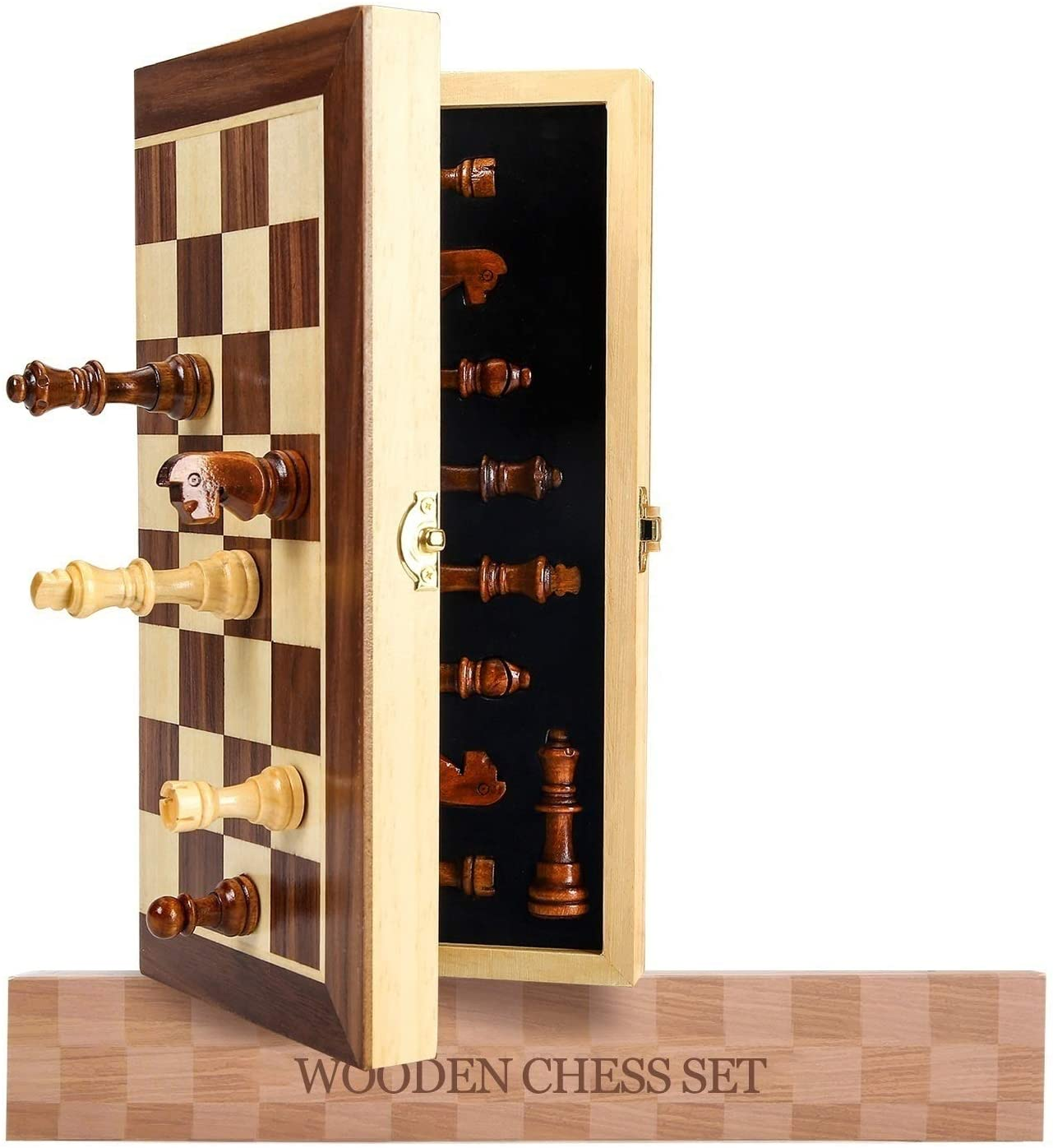 """Magnetic Chess Set, Wooden Chess Board Games for Adults, Folding Travel Chess Set Game Board with Magnetic Crafted Chess Pieces Includes Extra Queens, 12"""" x 12"""""""