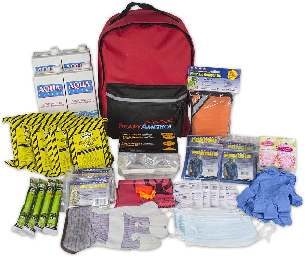 2 Person Emergency Supply Kit for 3 Days Survival Bag Food First Aid Light Mask