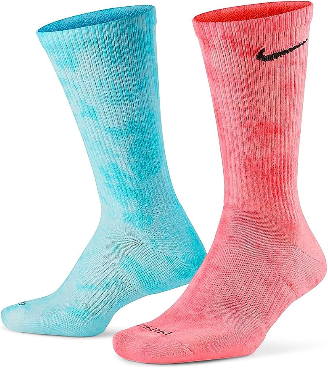 Tie Dye Nike Dri-Fit Crew Socks - Red Blue / Green Sapphire / Yellow Orange